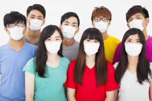 young student group wearing a mask